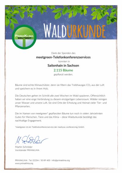 meetgreen Waldurkunde